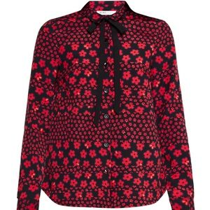 NWT BCBGENERATION Black Red Floral Blouse